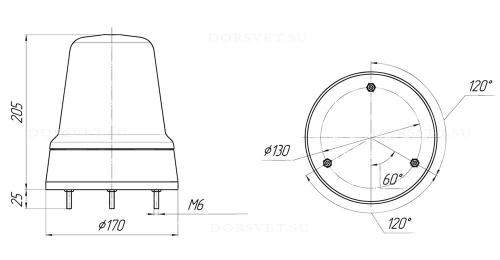 Проблесковый маяк с роторным модулем С12-55 или С24-75